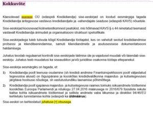 Krediidiandja tegevusloa sise-eeskirjad_põhi_kokkuvõte