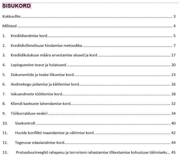 Krediidiandja tegevusloa sise-eeskirjad_põhi_sisukord